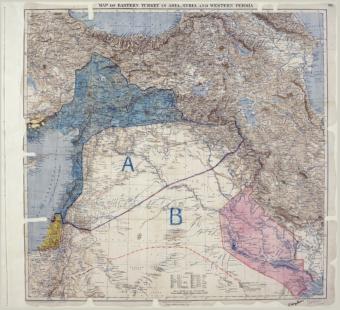 SYKES PICOT AGREEMENT 16 MAY 1916 MAP OF MIDDLE EAST